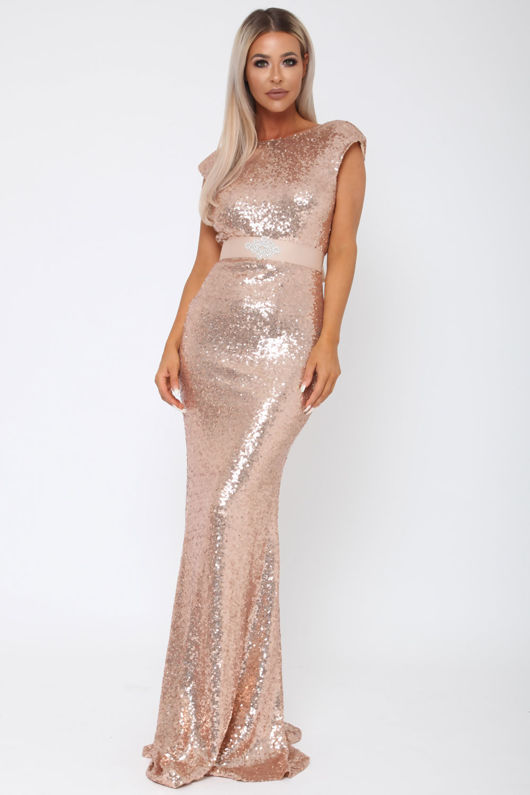 Sequin V Back Gown in Rose Gold