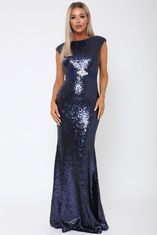 Sequin V Back Gown in Navy