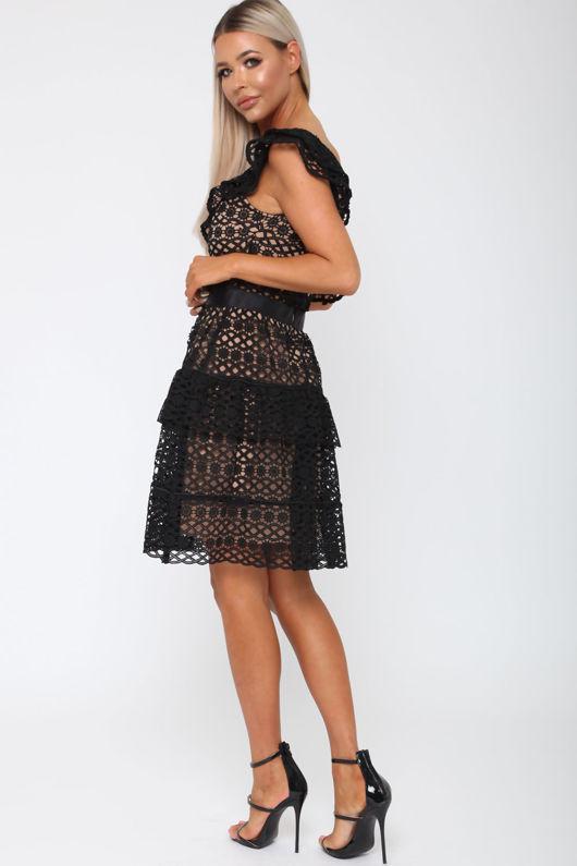 Tobi One-Sleeved Dress in Black