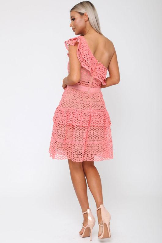 Tobi One-Shoulder Dress in Coral
