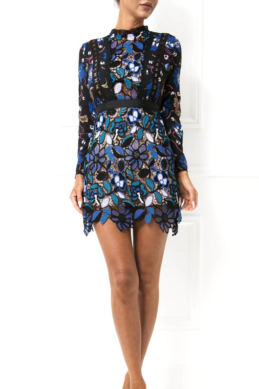 Adele Floral Print Long Sleeve Lace Mini Dress