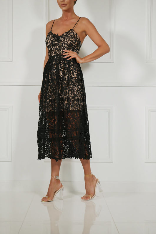 Alex Lace Midi Dress in Black