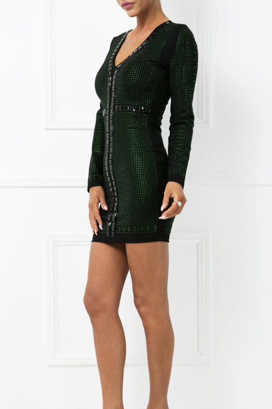 Alison Mini Dress in Black & Green