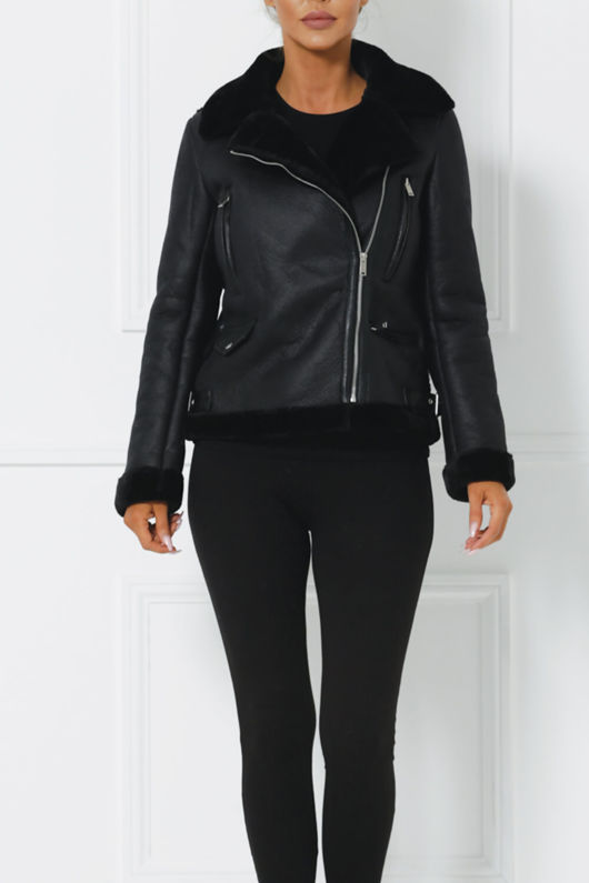 Ania Faux Suede Jacket with Faux Fur Interior in Black