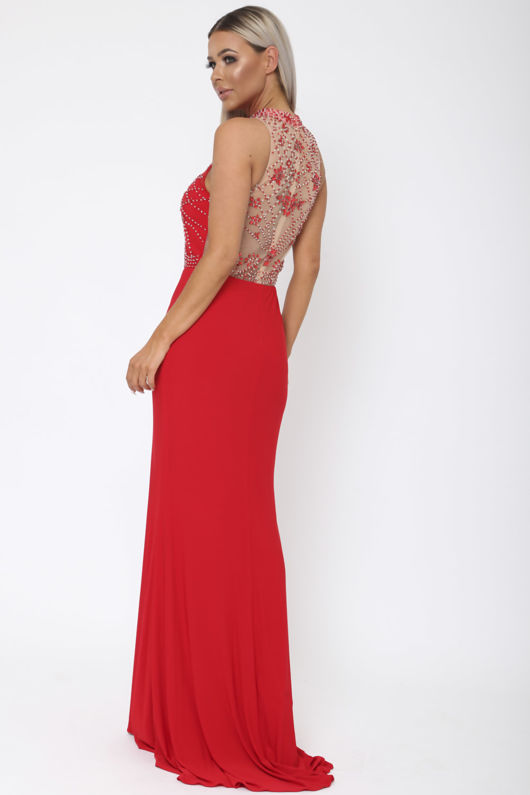 Beaded Halter Gown in Red
