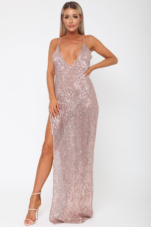 Belinda Sequin Long Gown in Rose Gold