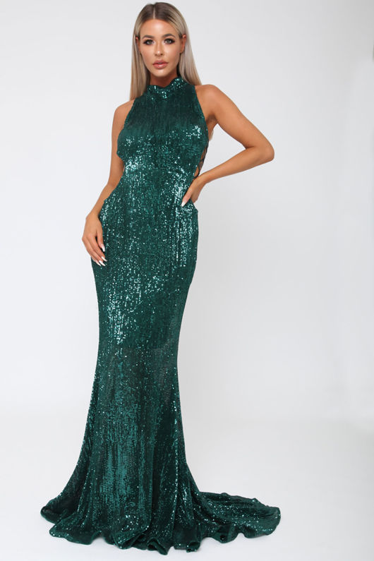 Bella Sequin Long Gown in Emerald Green - Cari\'s Closet