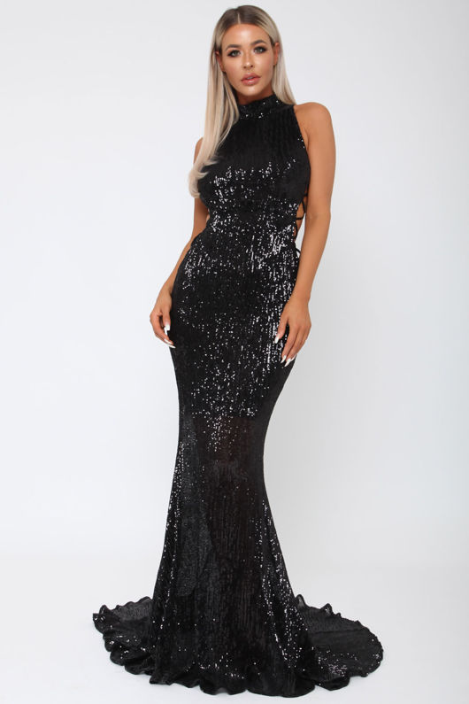 Bella Sequin Long Gown in Black