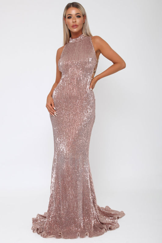 Bella Sequin Long Gown In Rose Gold