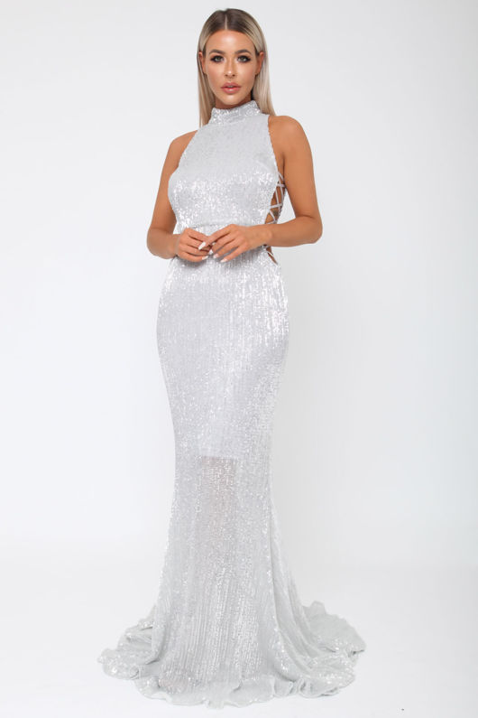 Bella Sequin Long Gown in Silver