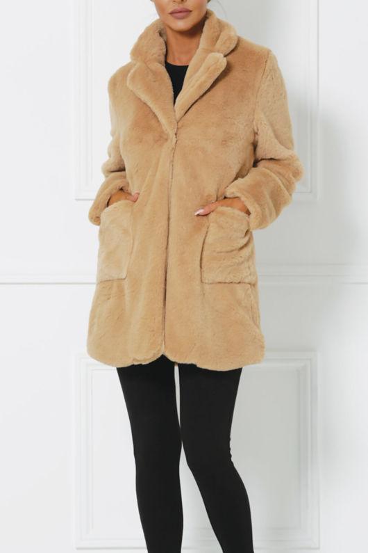 Brooklyn Faux Fur Jacket Nude