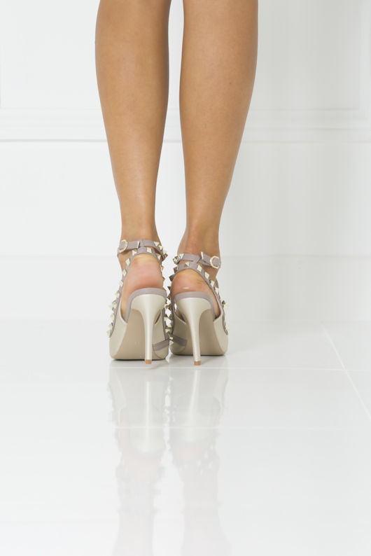 Angelina Studded Heels in Gold Matte