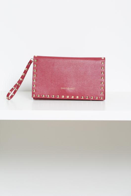 Studded Envelope Clutch Bag in Burgundy