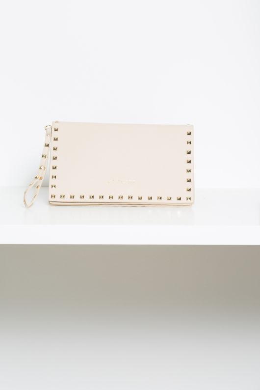 Studded Envelope Clutch Bag in Nude