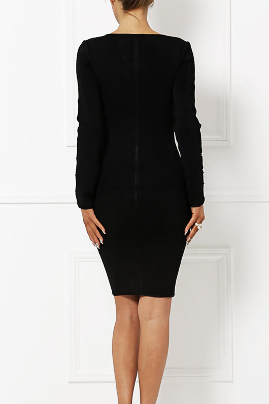 Carrie Long Sleeve Button Detail in Black