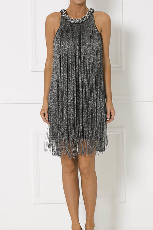 Chester Fringe Mini Shift Dress in Black & Charcoal