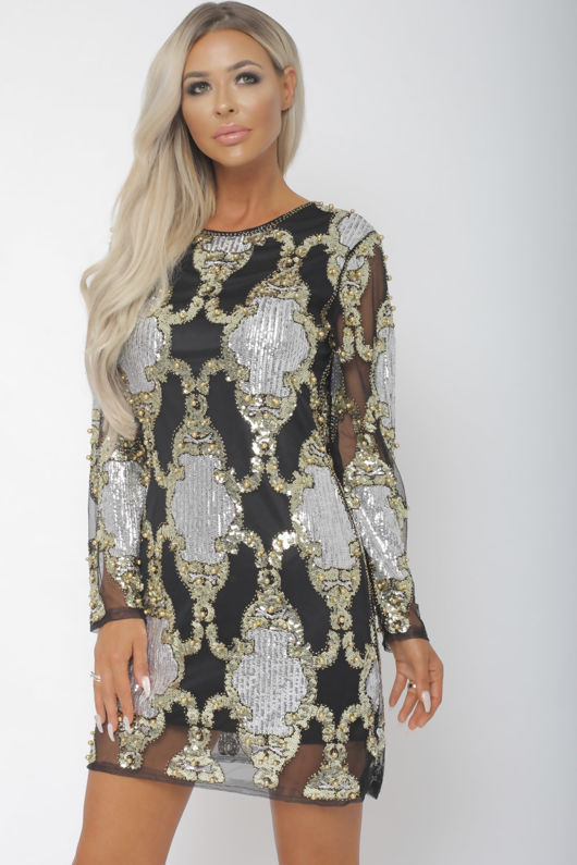 Chicago Sequin Mini Dress in Black, Silver & Gold