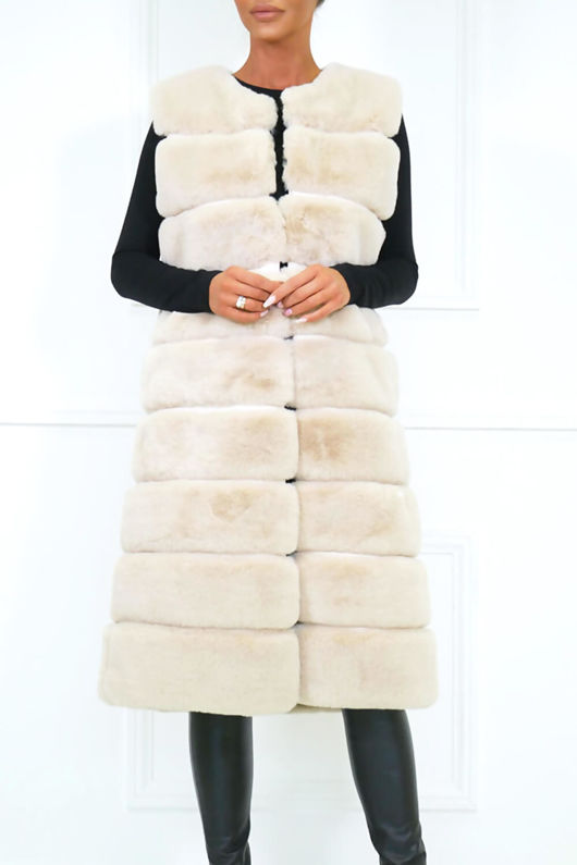 Chrissie Faux Fur Gilet in Ivory