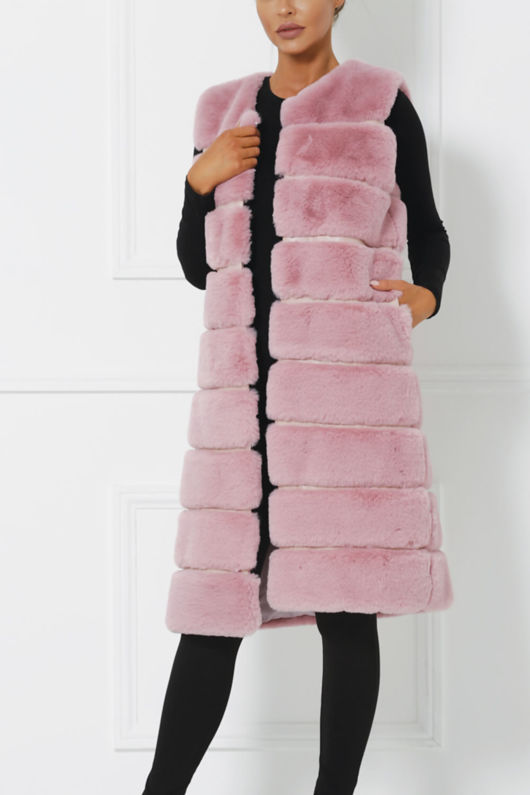 Chrissie Faux Fur Gilet in Pink
