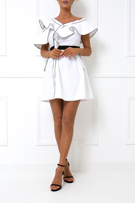 Floriana Frill Mini Dress in Monochrome
