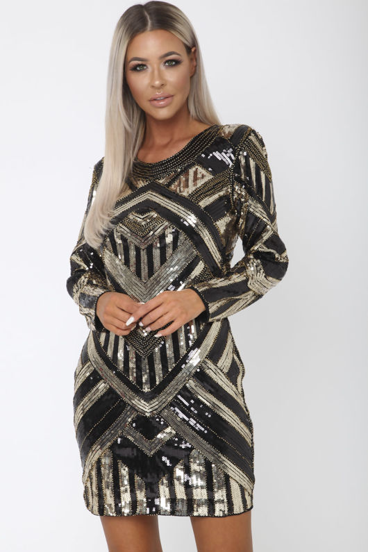Havana Sequin Mini Long Sleeve Shift Dress in Black & Gold