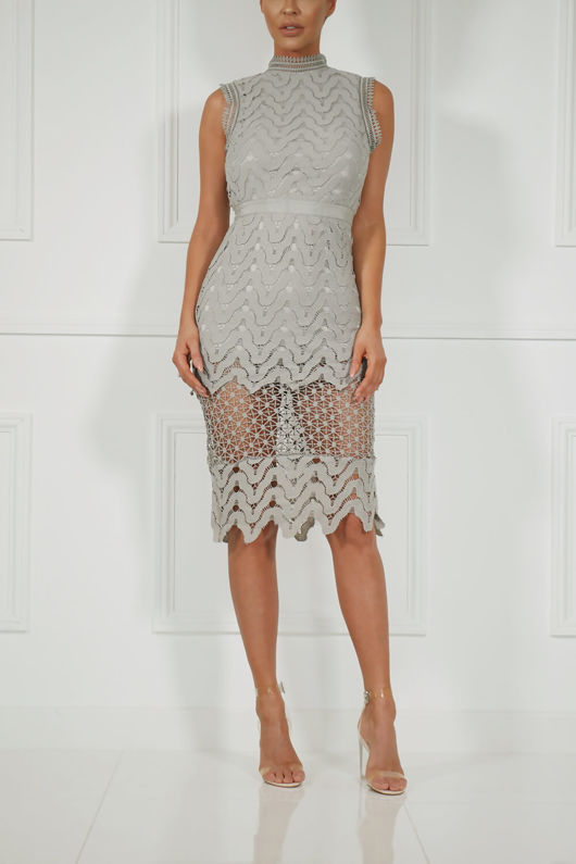 Hazel Lace Midi Dress in Grey