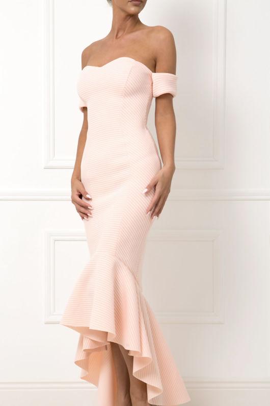Heidi Bardot Midi Fishtail Dress in Peach