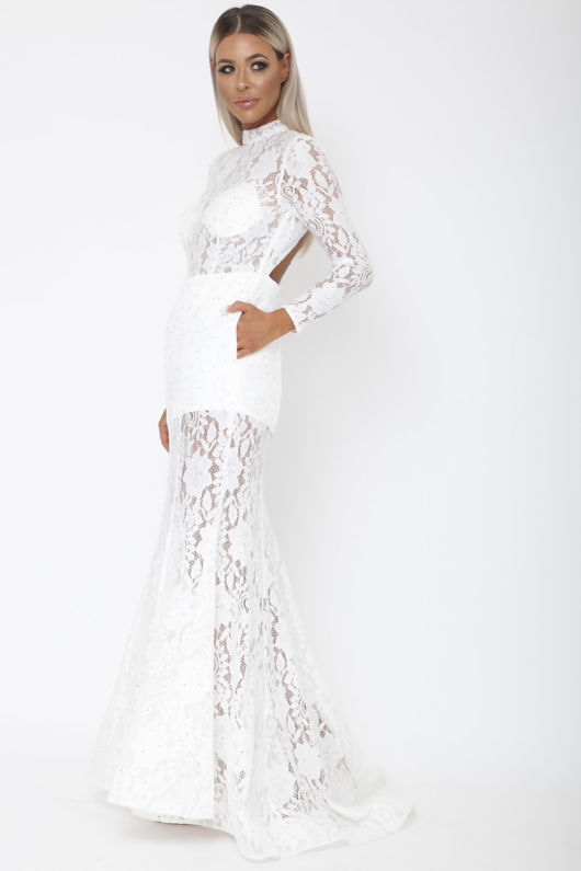 Holly Long Sleeve Backless Lace Gown in White