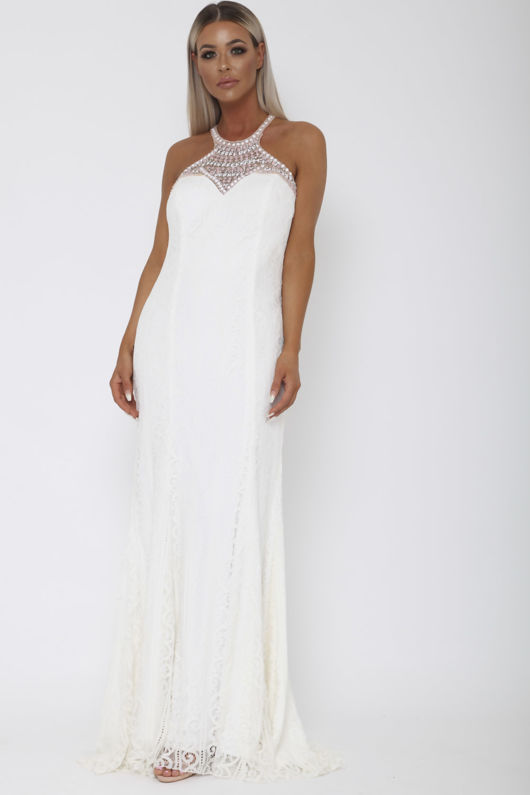 Gabriella Racer Lace Gown in White
