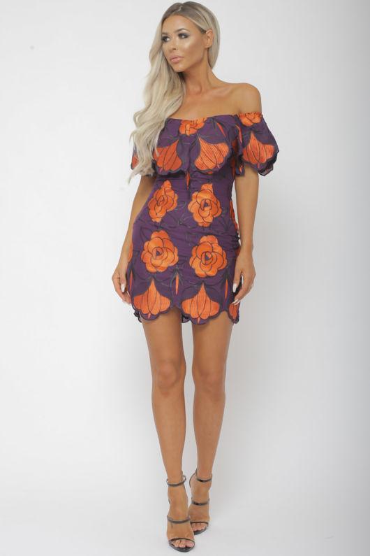 Jenina Bardot Floral Print Mini Bodycon Dress in Purple & Orange