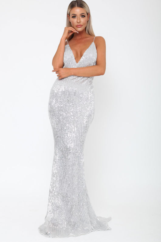 Khan Long Gown in Silver