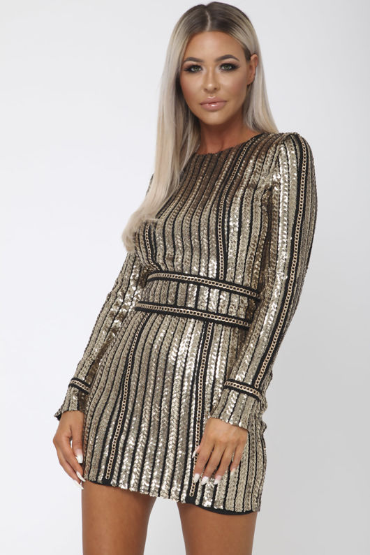 Neptune Long-Sleeve Sequin Mini Dress in Black & Gold