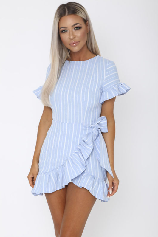 Sail Away Mini Wrap Dress in Blue and White