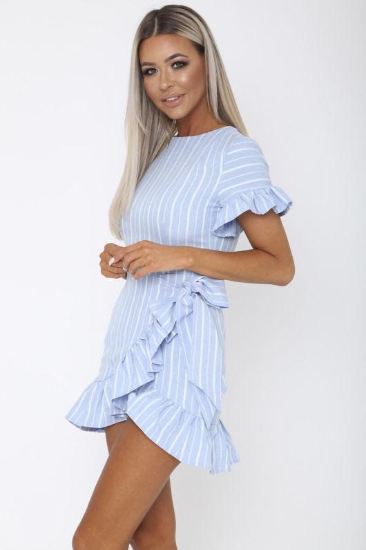 Sail Away Mini Wrap Dress in Blue and White