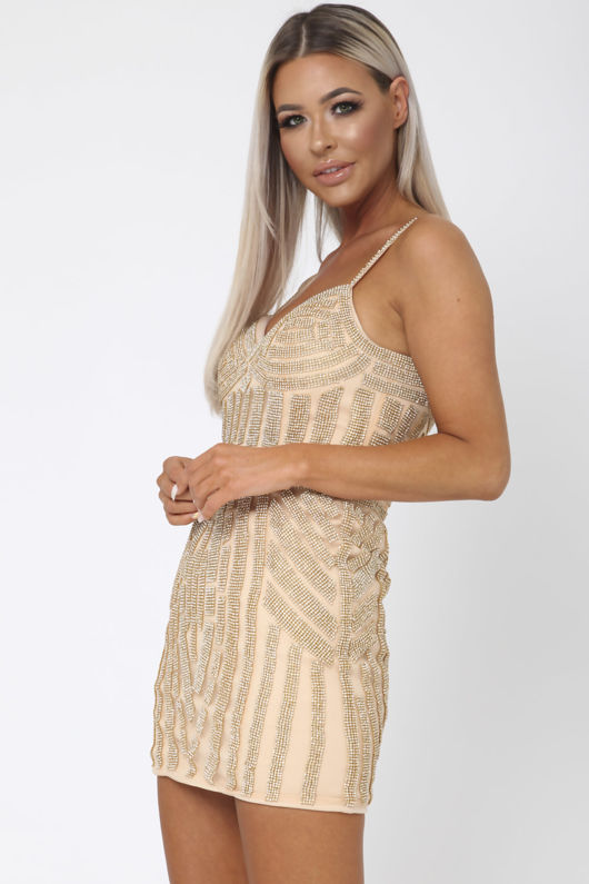 Short Gatsby Sequin Mini Dress in Gold