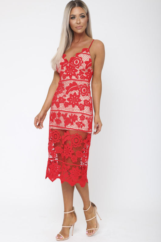 Scarlet Lace Midi Dress in Red