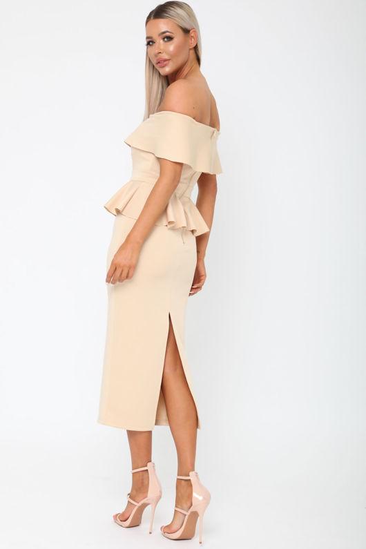 Tamara Peplum Dress in Nude