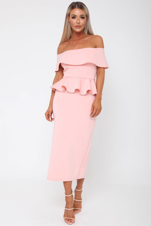 Tamara Peplum Dress in Pink