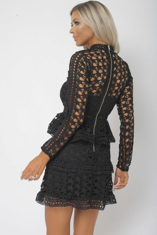 Taylor Long Sleeve Lace Mini Dress in Black