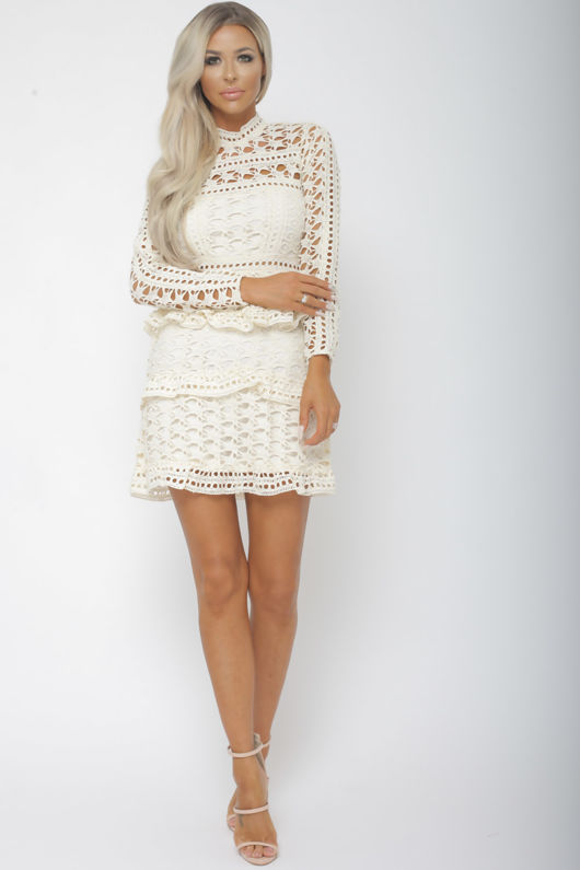 Taylor Long Sleeve Lace Mini Dress in Cream