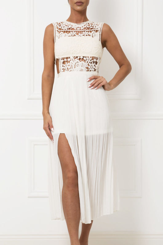 Willow Lace & Chiffon Midi Dress in Cream