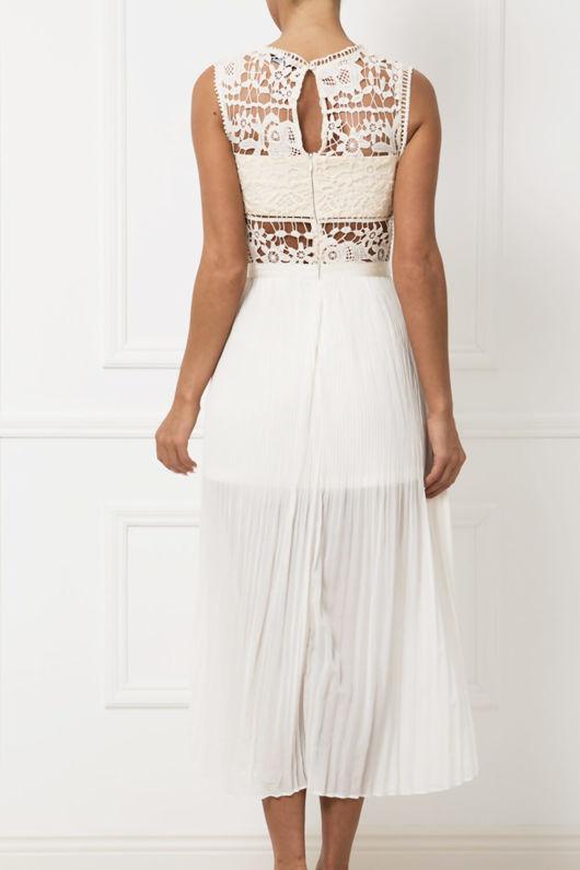 Willow Lace & Chiffon Midi Dress in Cream