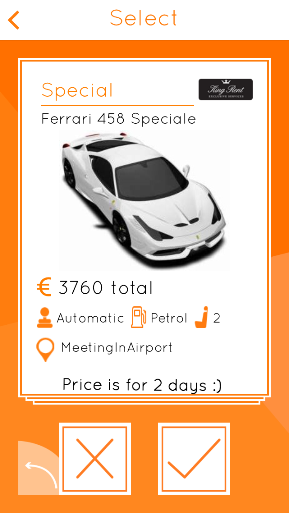 Ferrari 458 Speciale, one of the choices for the car you rent