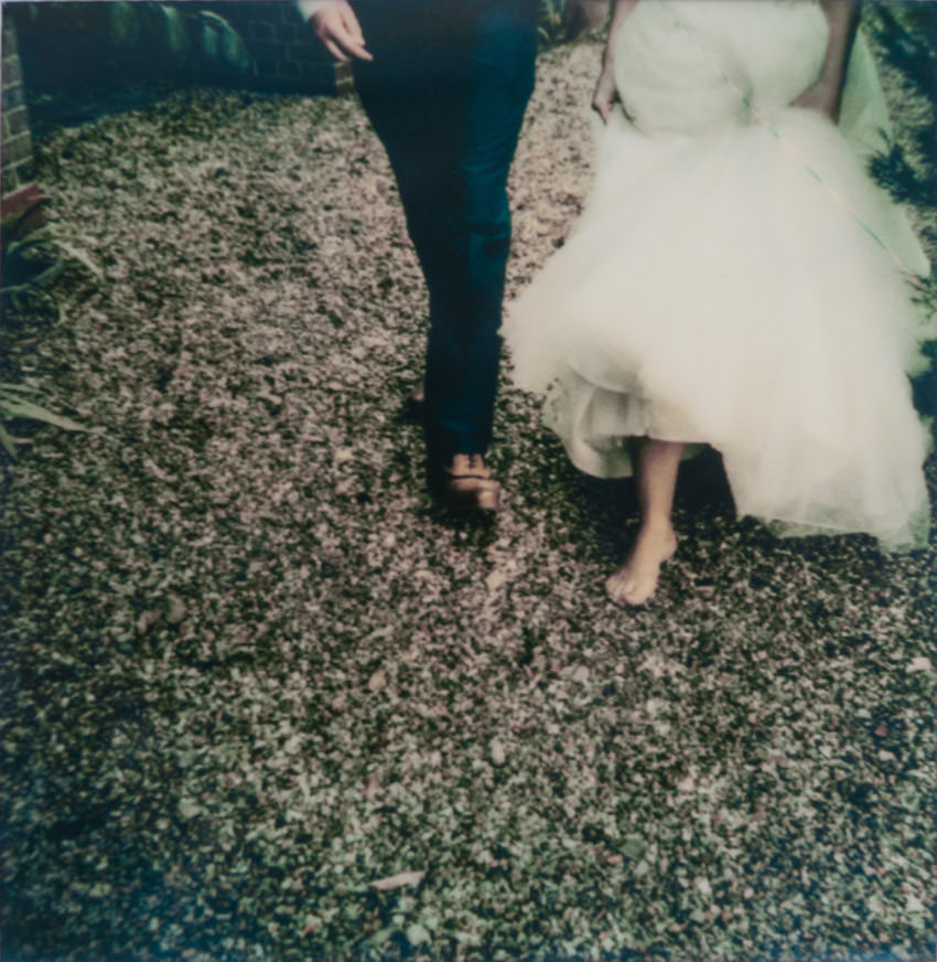 polaroid photograph of a bride and groom at Burloes Hall Weddings