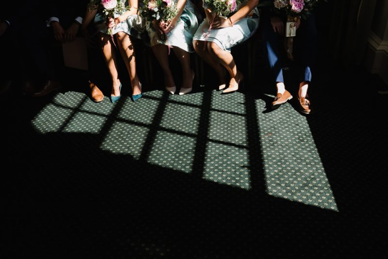 documentary photograph of wedding party at Chelsea Town Hall