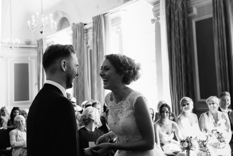 bride and groom just about to get married at a London town hall registry office