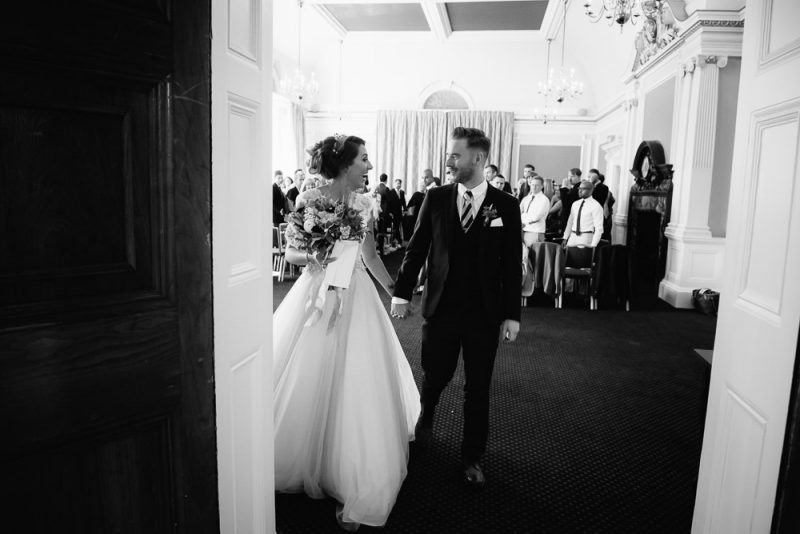 Couple leave their London town hall wedding after their civil wedding