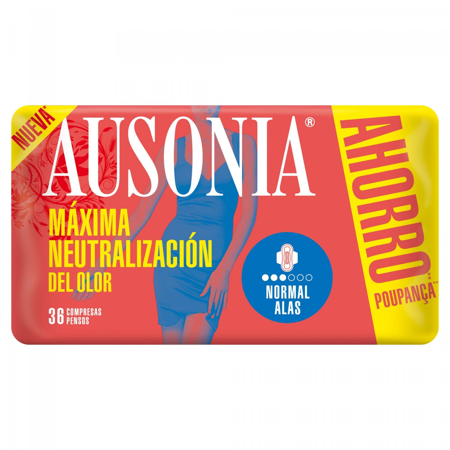 Ausonia compresa con alas normal pack ahorro 36 en bolsa