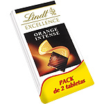 Excellence lindt orange intense chocolate negro con trocitos naranja tabletas de 100g. por 2 unidades