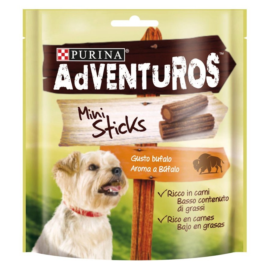 Adventuros mini sticks snack perro aroma bufalo friskies de 90g.